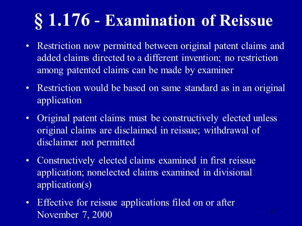 § 1.176 - Examination of Reissue