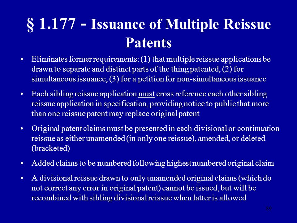 § 1.177 - Issuance of Multiple Reissue Patents