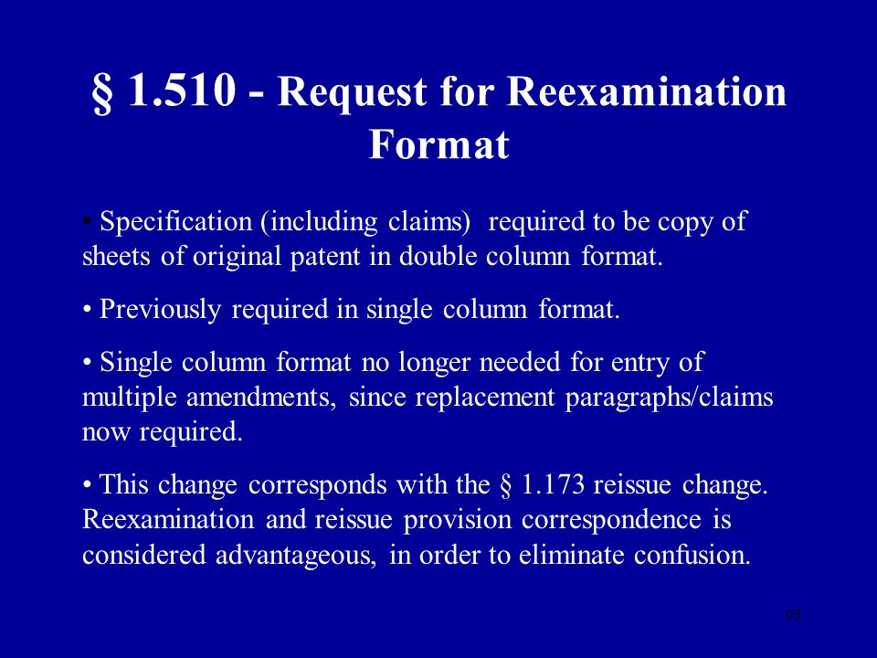§ 1.510 - Request for Reexamination Format