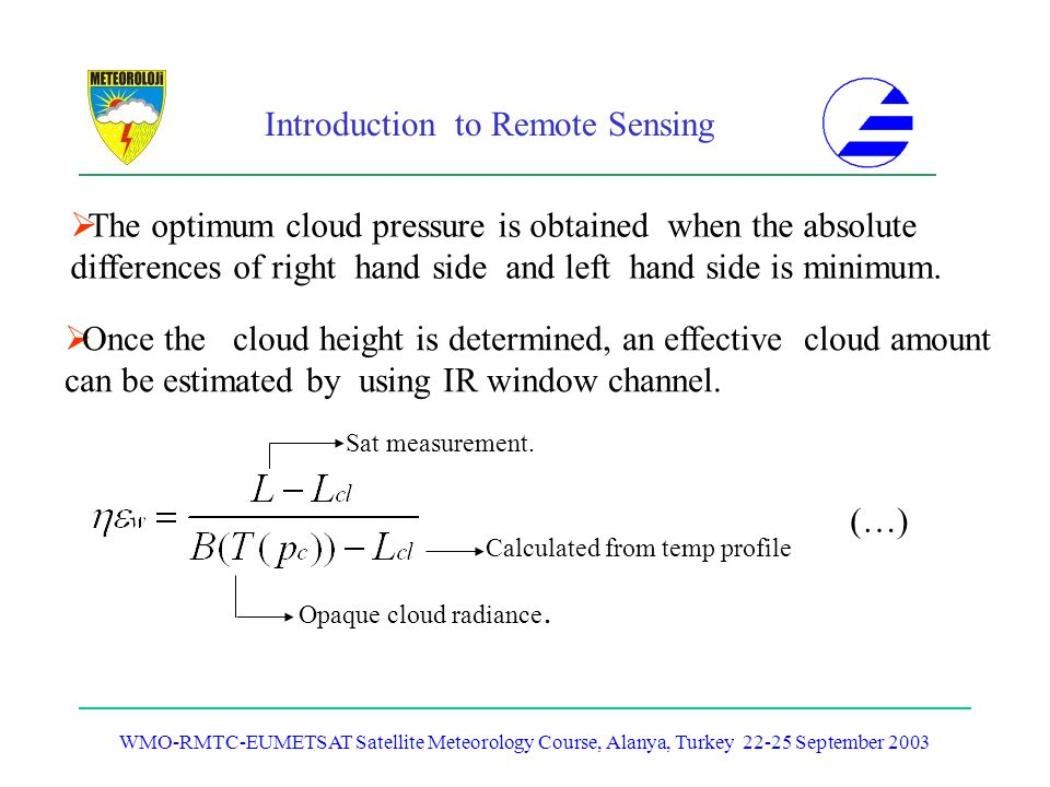 The optimum cloud pressure is obtained when the absolute