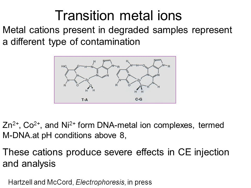 Transition metal ions Metal cations present in degraded samples represent a different type of contamination.