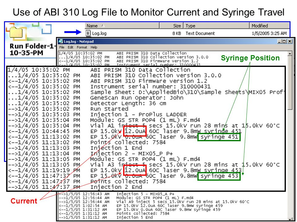 Use of ABI 310 Log File to Monitor Current and Syringe Travel