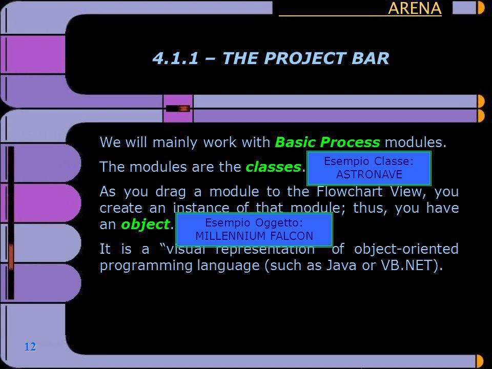 ARENA 4.1.1 – THE PROJECT BAR. We will mainly work with Basic Process modules. The modules are the classes.