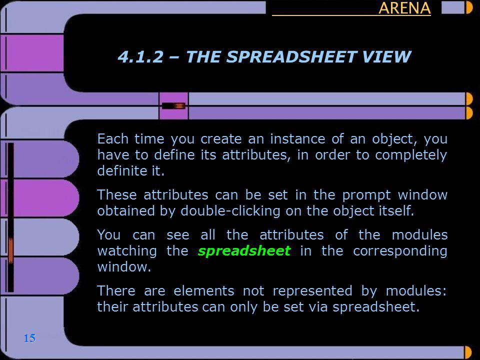 ARENA 4.1.2 – THE SPREADSHEET VIEW