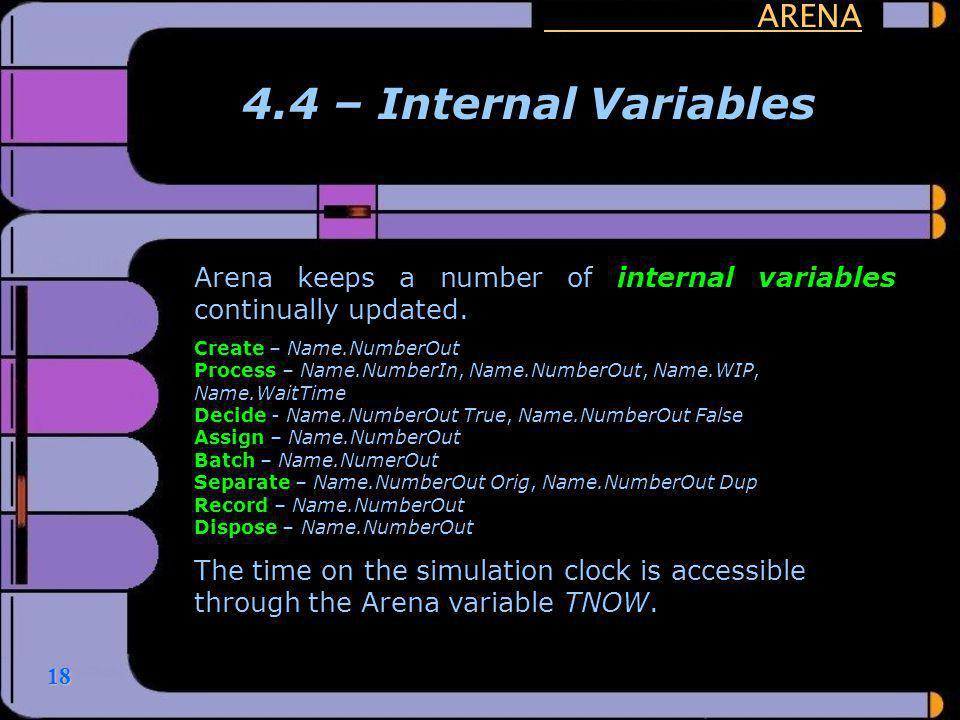 4.4 – Internal Variables ARENA