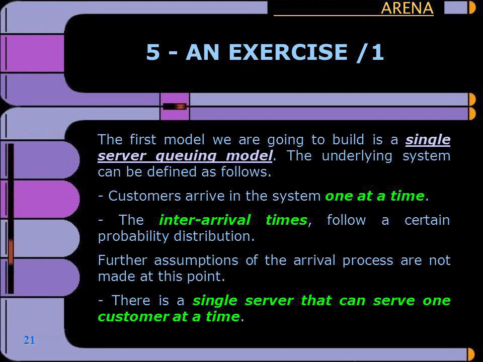 ARENA 5 - AN EXERCISE /1. The first model we are going to build is a single server queuing model. The underlying system can be defined as follows.