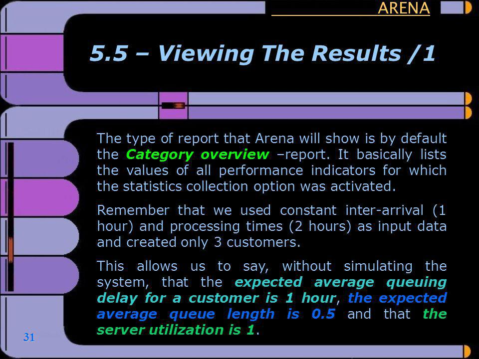 5.5 – Viewing The Results /1 ARENA