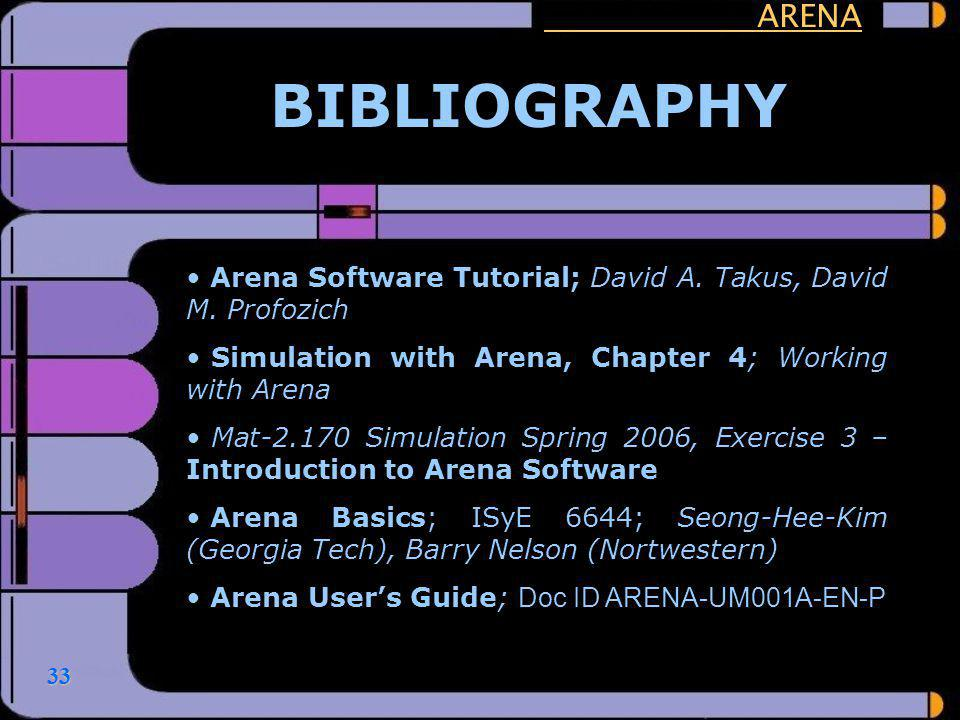 ARENA BIBLIOGRAPHY. Arena Software Tutorial; David A. Takus, David M. Profozich. Simulation with Arena, Chapter 4; Working with Arena.