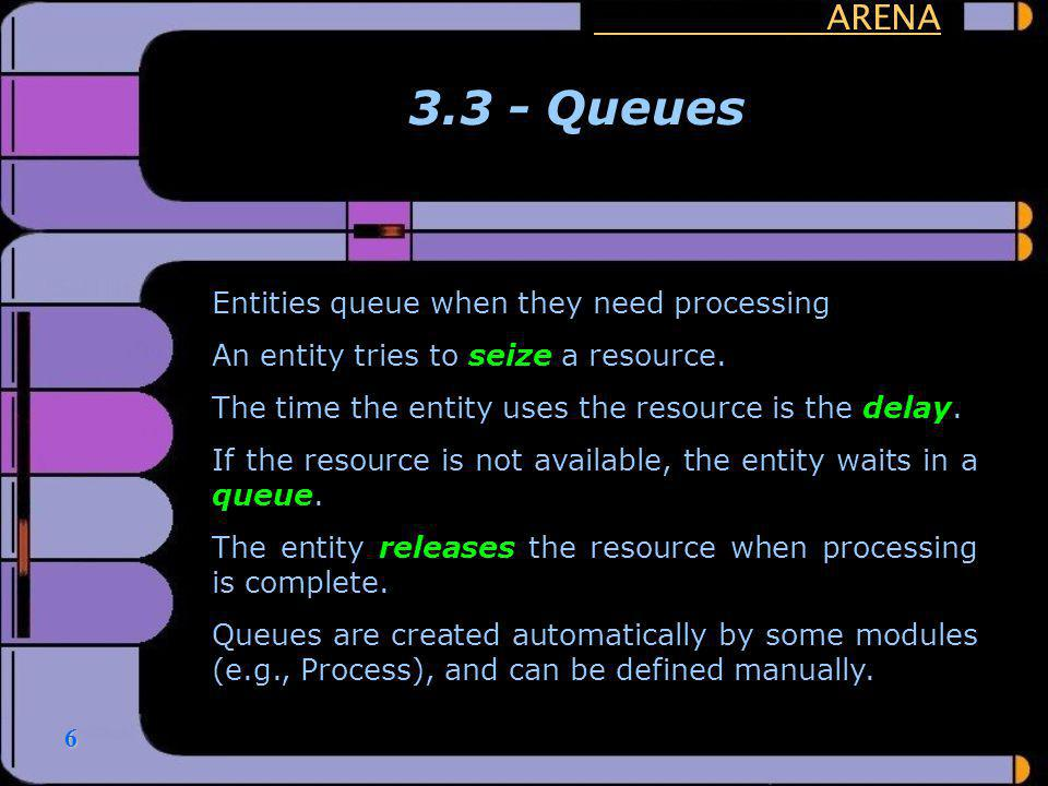 3.3 - Queues ARENA Entities queue when they need processing