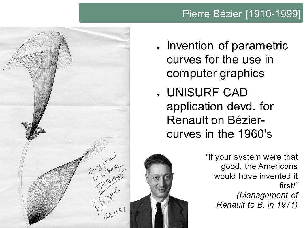 Invention of parametric curves for the use in computer graphics