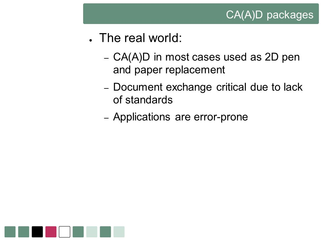 The real world: CA(A)D packages