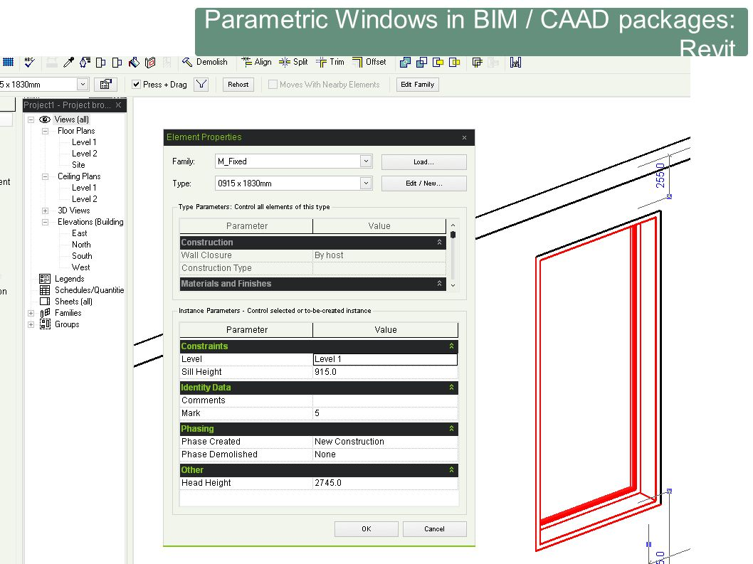 Parametric Windows in BIM / CAAD packages: Revit