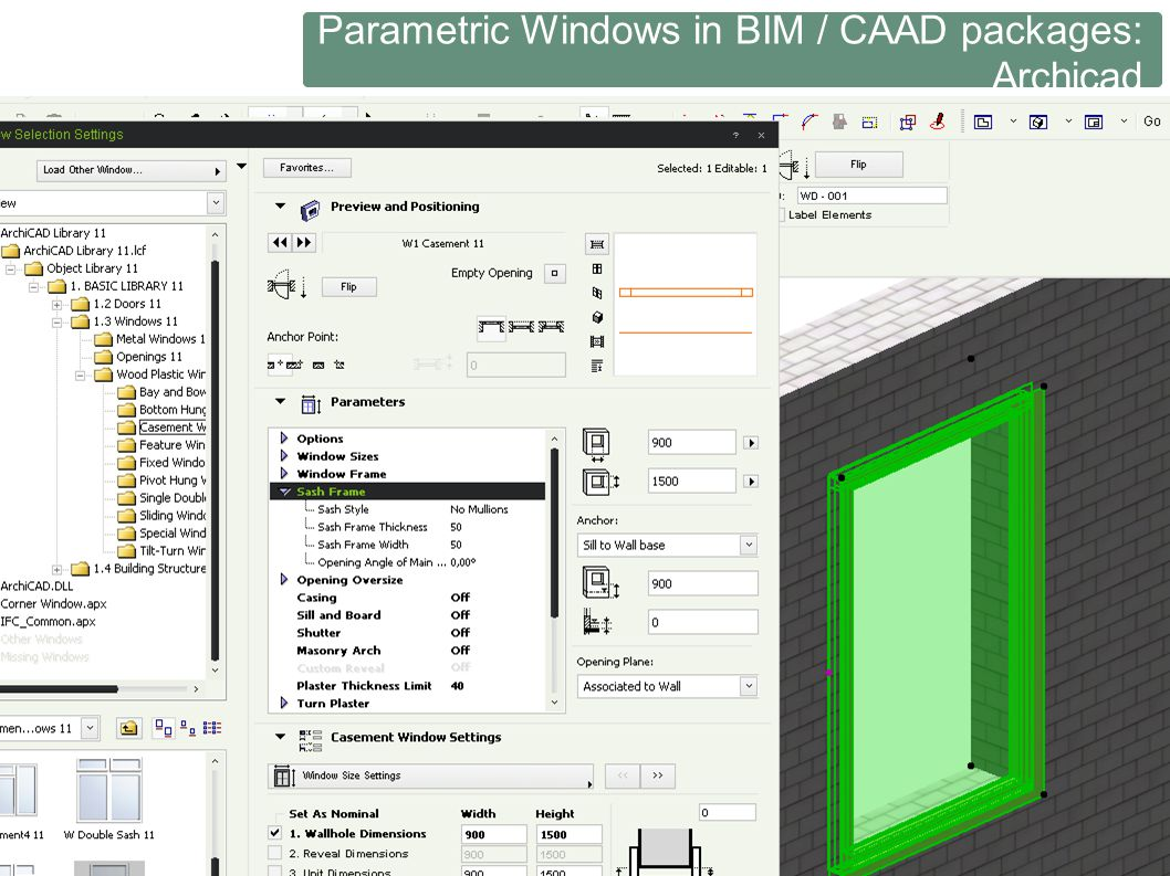 Parametric Windows in BIM / CAAD packages: Archicad