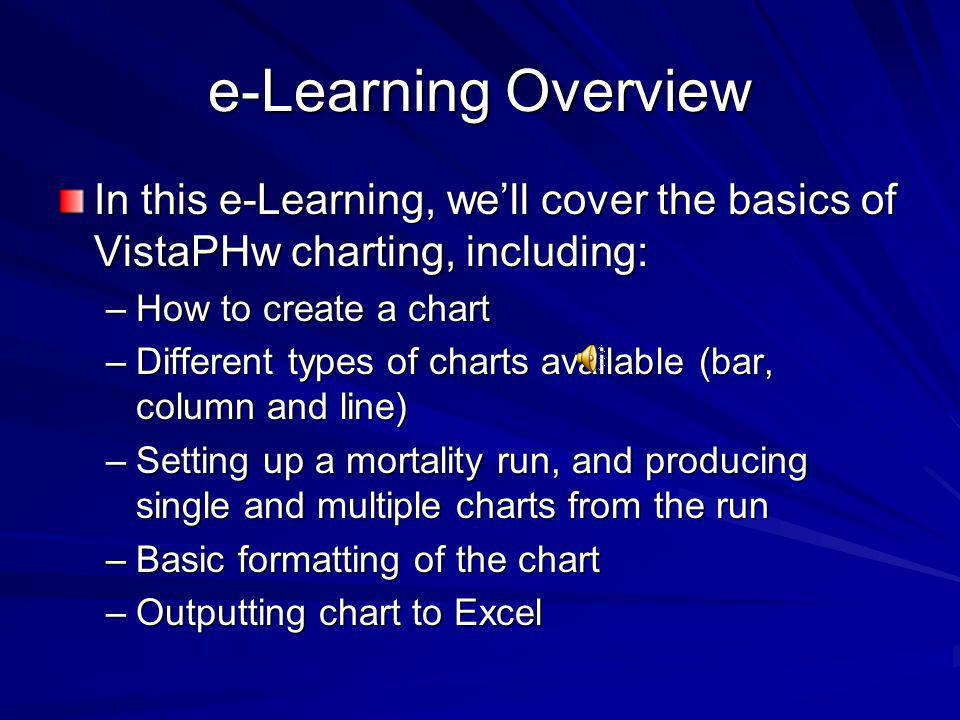 e-Learning Overview In this e-Learning, we'll cover the basics of VistaPHw charting, including: How to create a chart.
