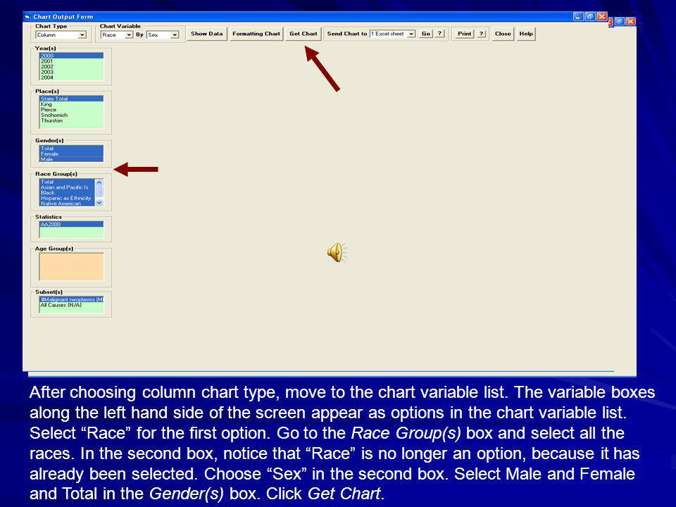 After choosing column chart type, move to the chart variable list