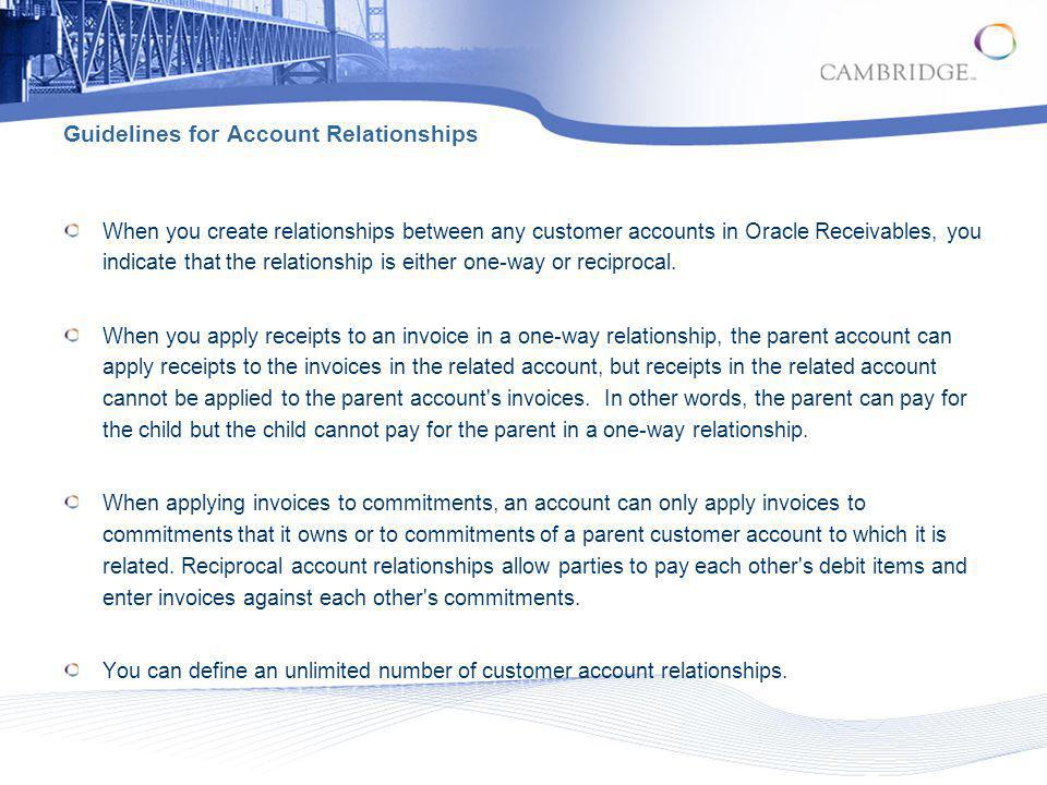 Guidelines for Account Relationships