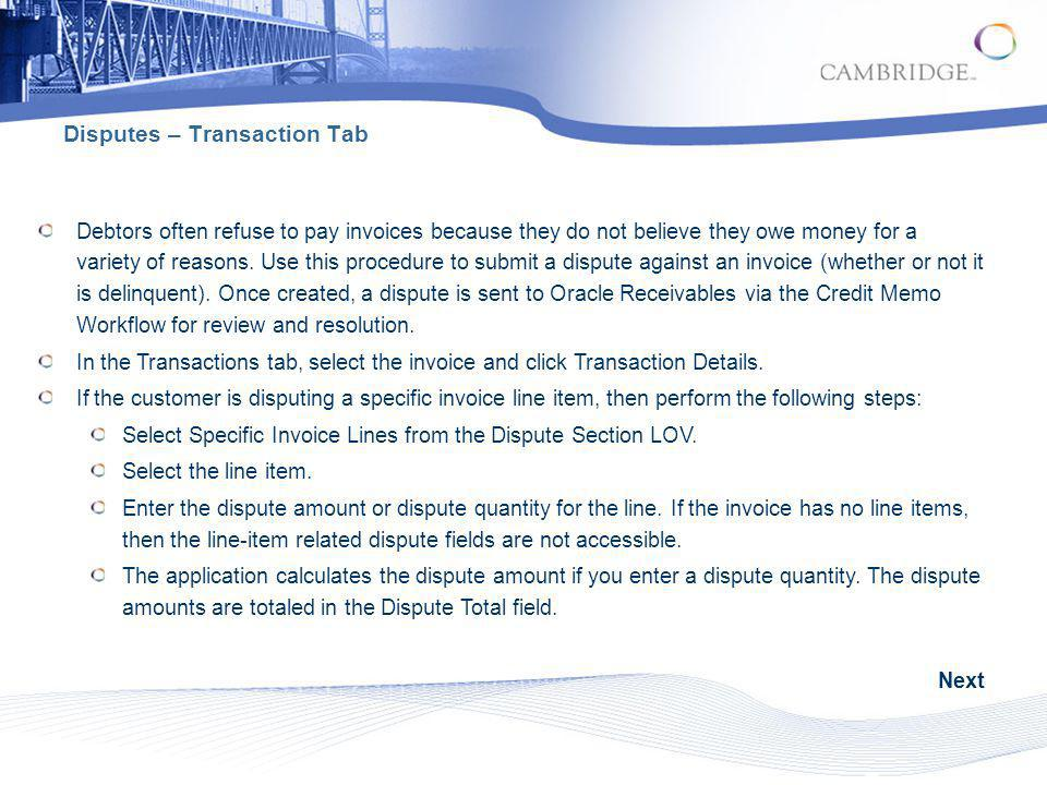 Disputes – Transaction Tab