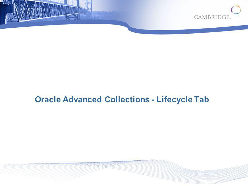 Oracle Advanced Collections - Lifecycle Tab