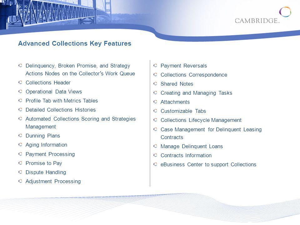 Advanced Collections Key Features