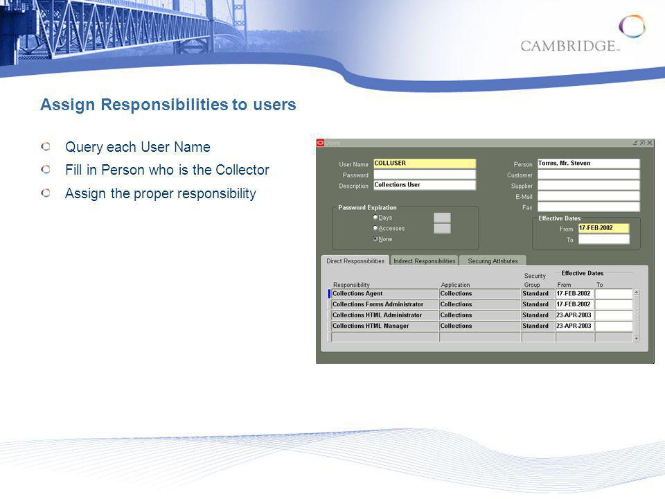 Assign Responsibilities to users