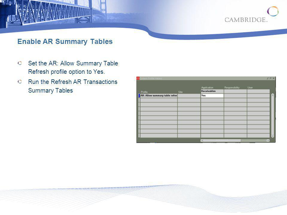 Enable AR Summary Tables