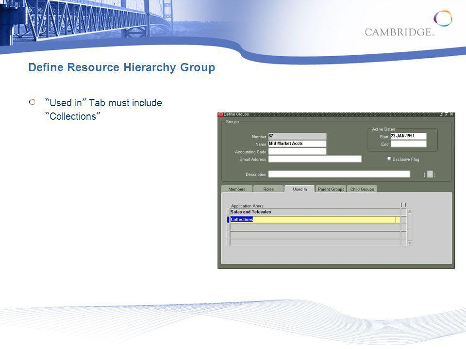 Define Resource Hierarchy Group