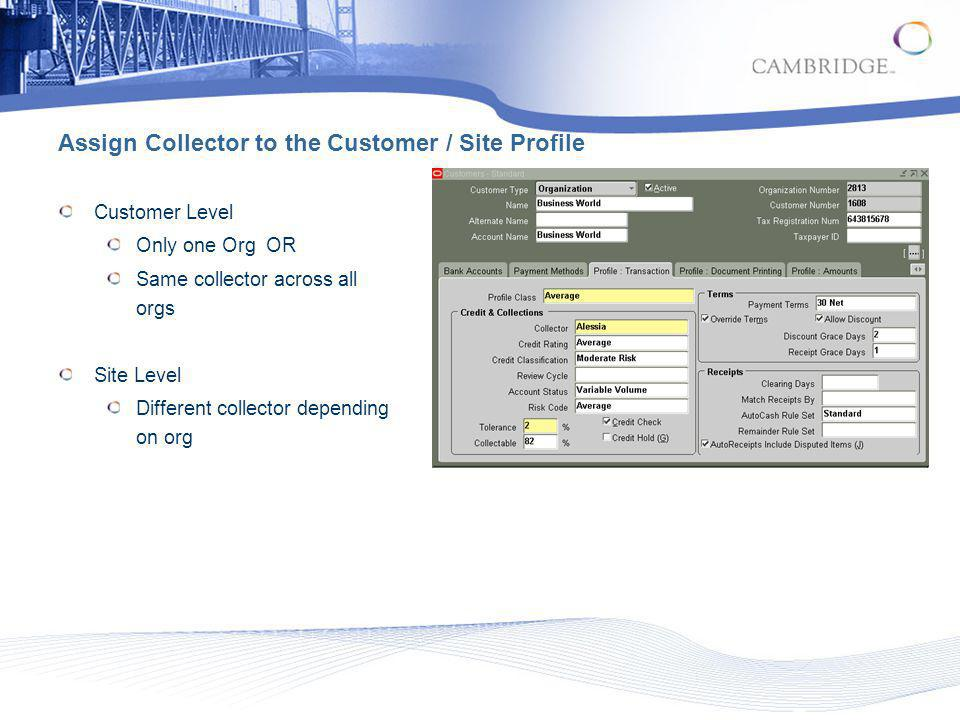 Assign Collector to the Customer / Site Profile