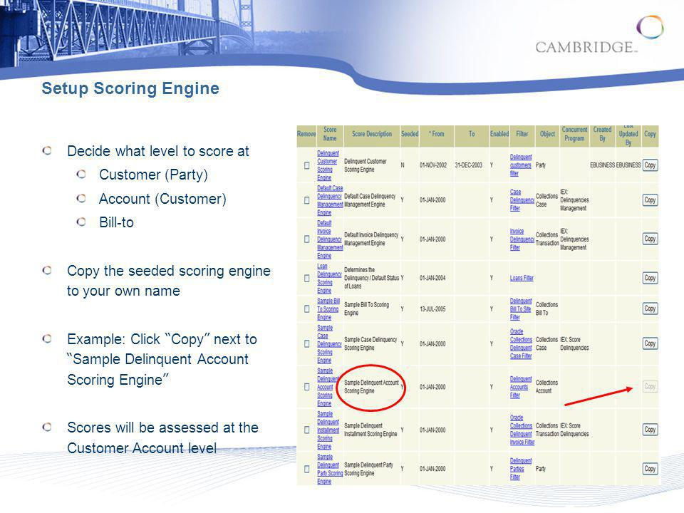 Setup Scoring Engine Decide what level to score at Customer (Party)