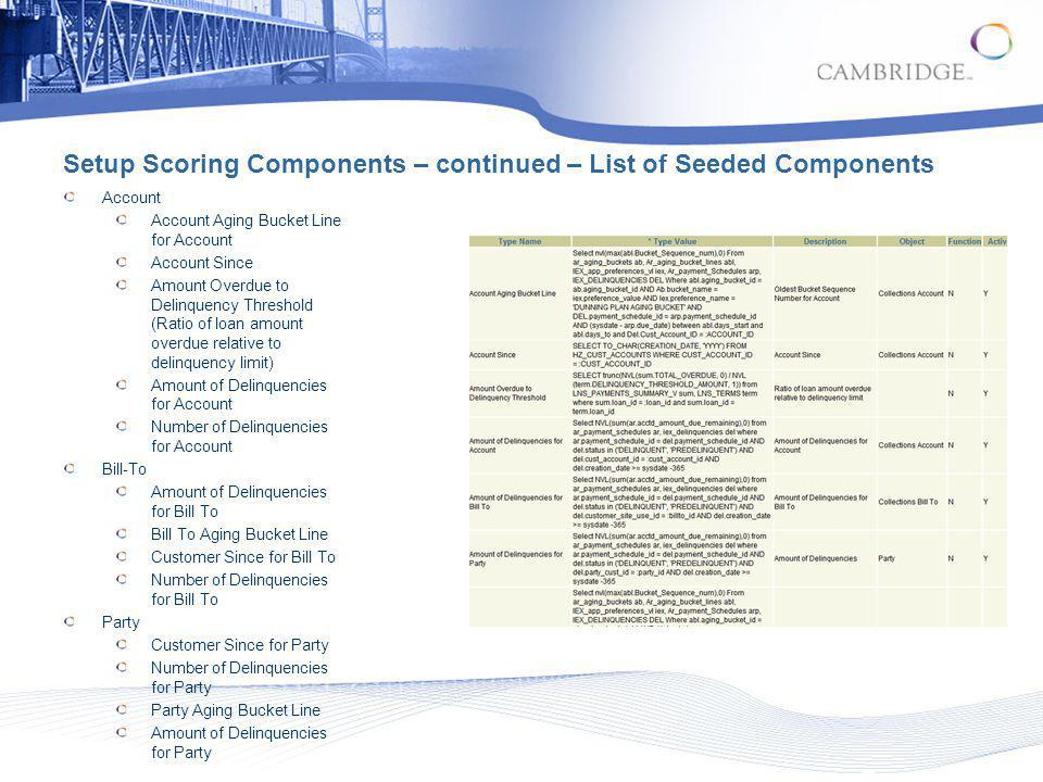 Setup Scoring Components – continued – List of Seeded Components