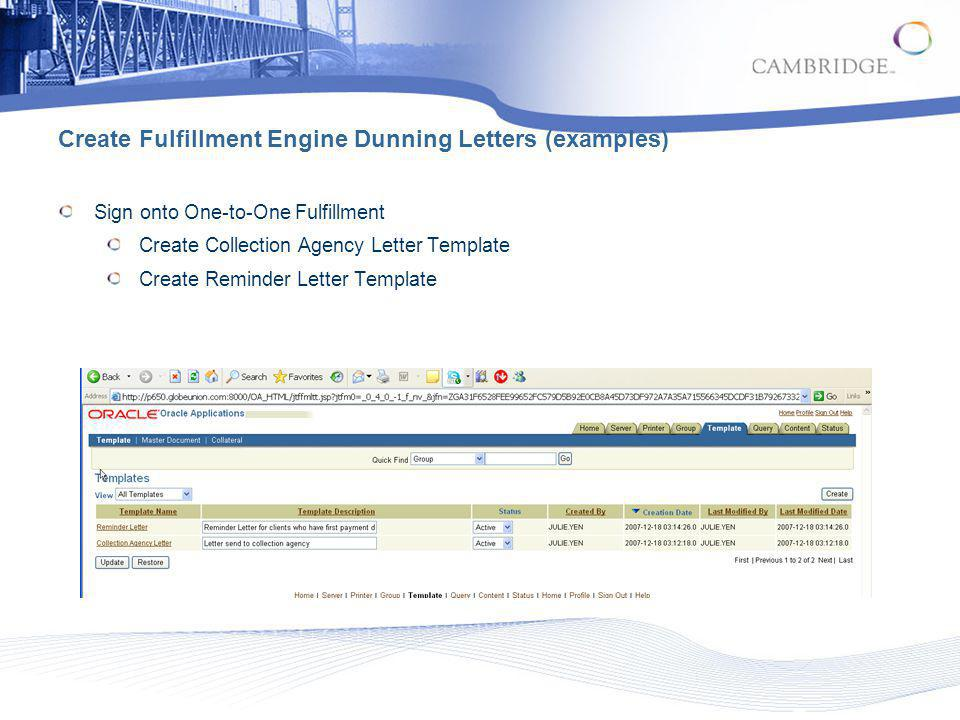 Create Fulfillment Engine Dunning Letters (examples)