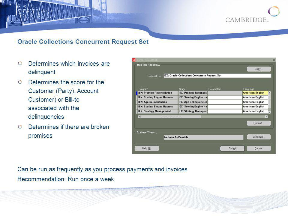 Oracle Collections Concurrent Request Set