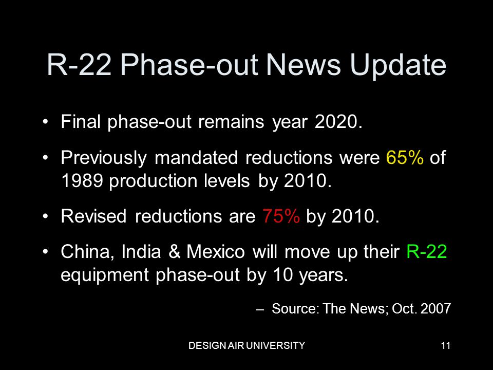 R-22 Phase-out News Update