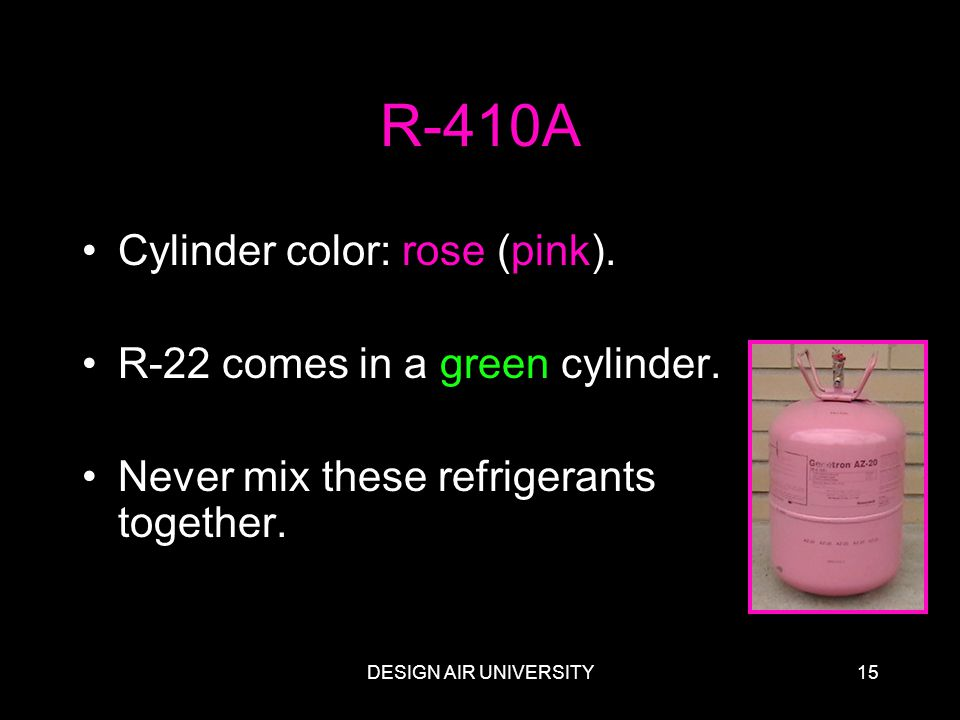 R-410A Cylinder color: rose (pink). R-22 comes in a green cylinder.