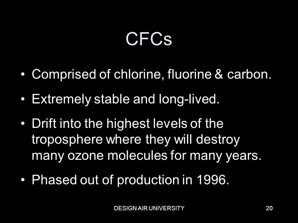 CFCs Comprised of chlorine, fluorine & carbon.