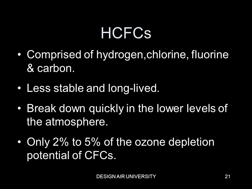 HCFCs Comprised of hydrogen,chlorine, fluorine & carbon.