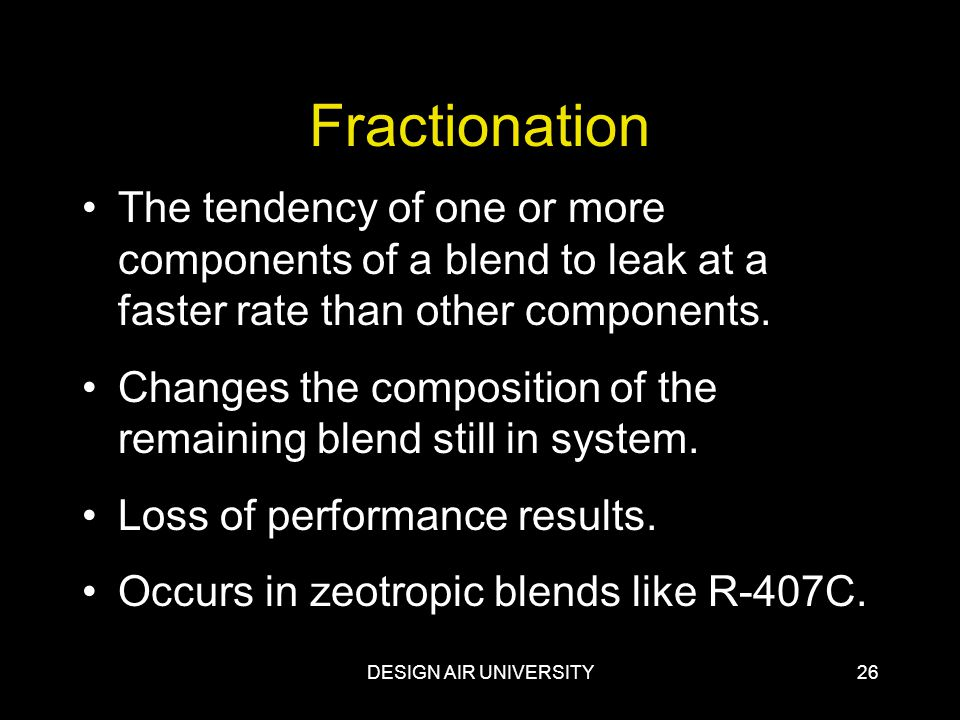 Fractionation The tendency of one or more components of a blend to leak at a faster rate than other components.