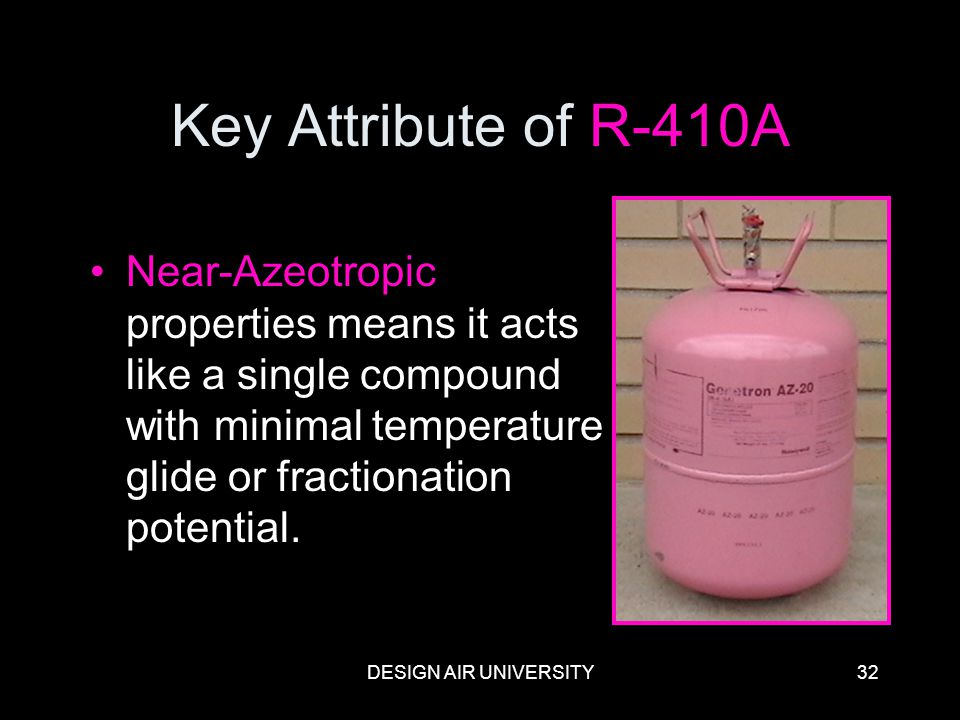 Key Attribute of R-410A Near-Azeotropic properties means it acts like a single compound with minimal temperature glide or fractionation potential.
