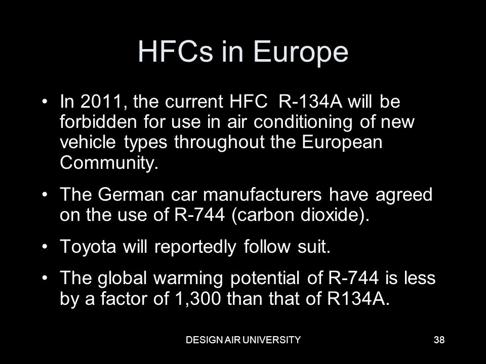 HFCs in Europe In 2011, the current HFC R-134A will be forbidden for use in air conditioning of new vehicle types throughout the European Community.