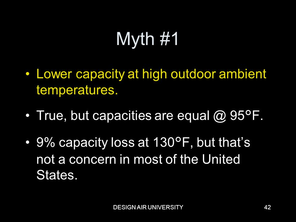 Myth #1 Lower capacity at high outdoor ambient temperatures.