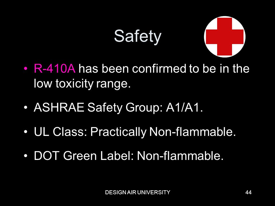 Safety R-410A has been confirmed to be in the low toxicity range.
