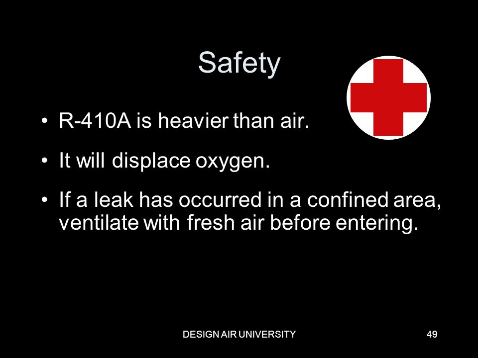 Safety R-410A is heavier than air. It will displace oxygen.