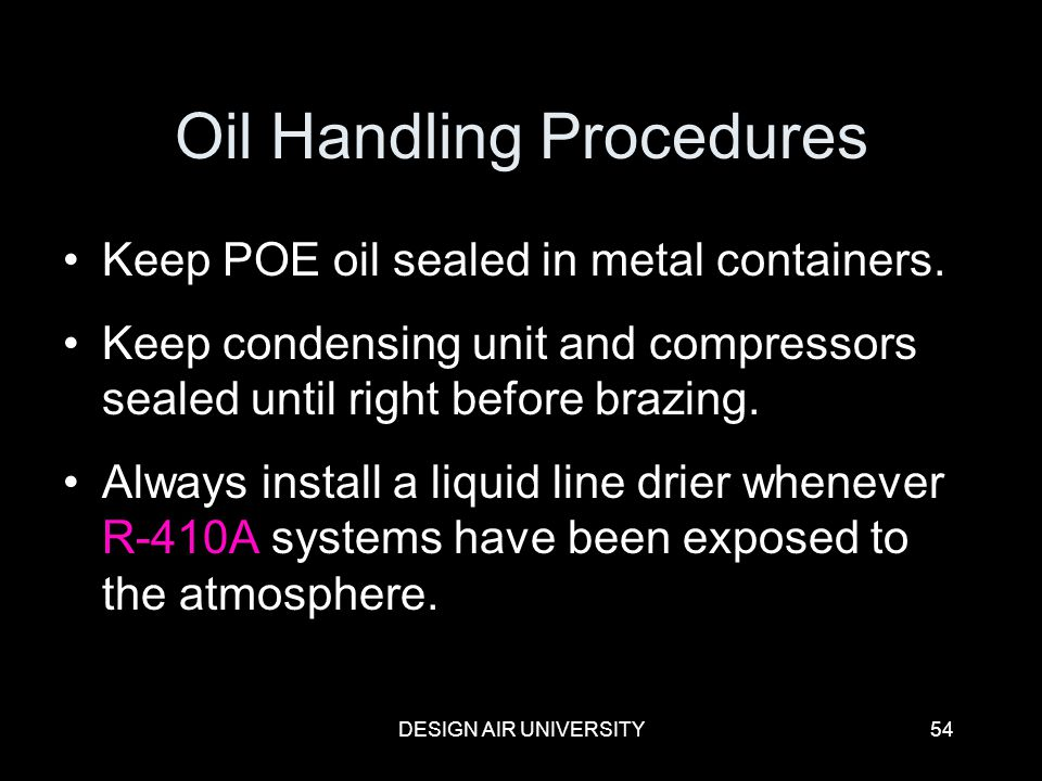 Oil Handling Procedures