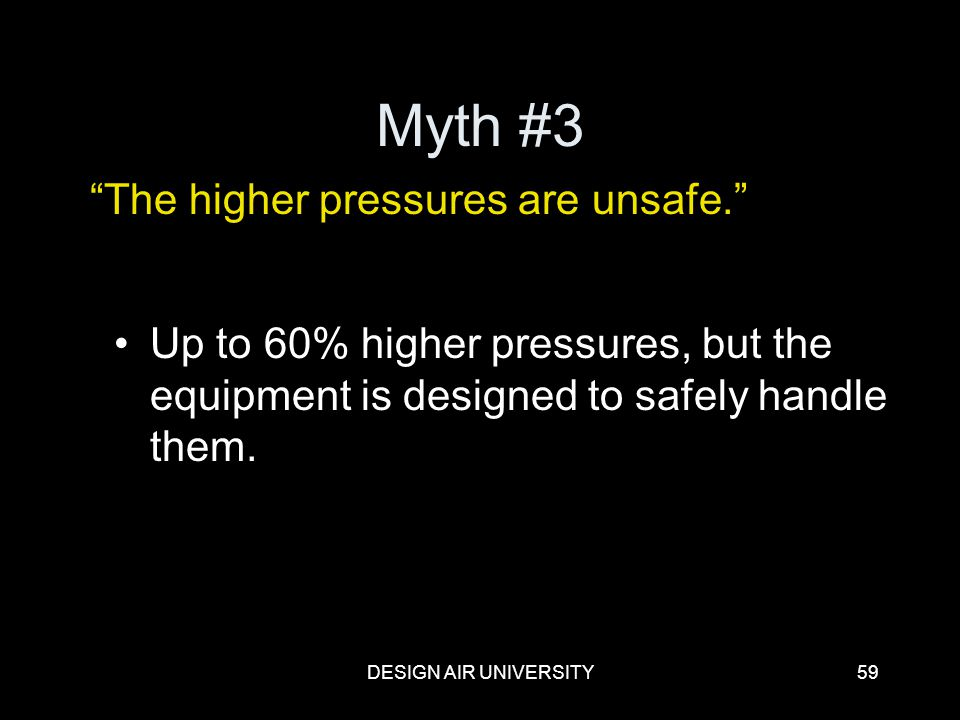 Myth #3 The higher pressures are unsafe.