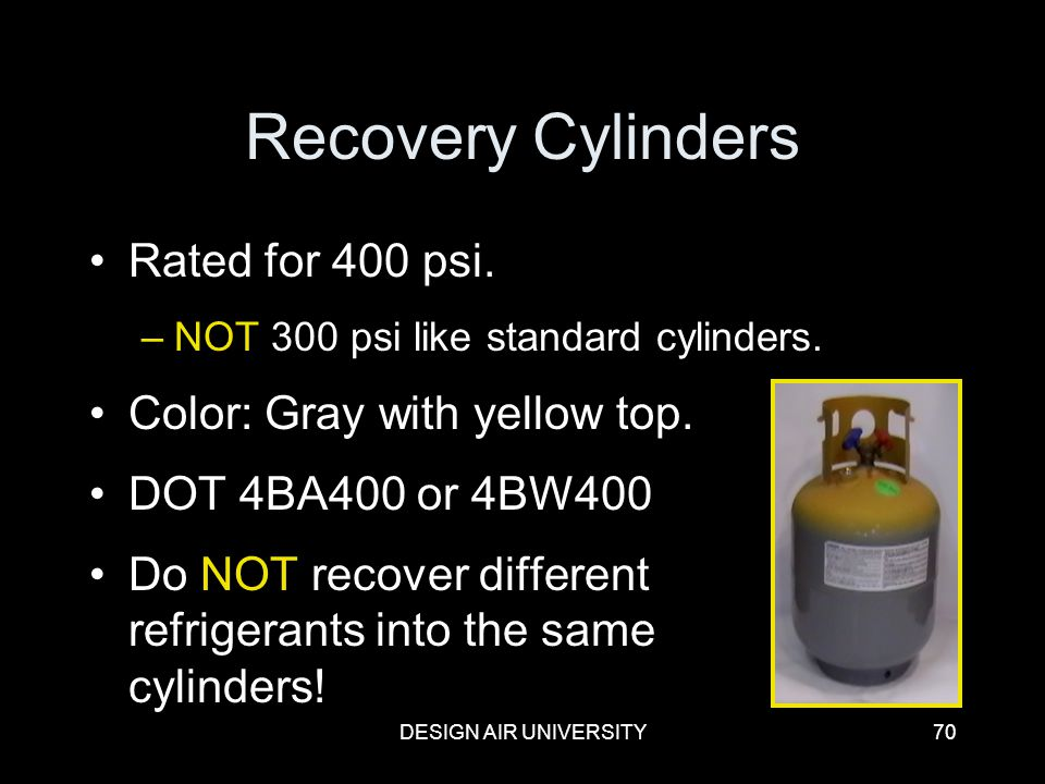 Recovery Cylinders Rated for 400 psi. Color: Gray with yellow top.