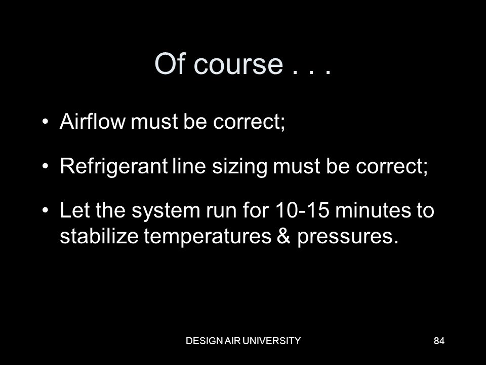 Of course . . . Airflow must be correct;