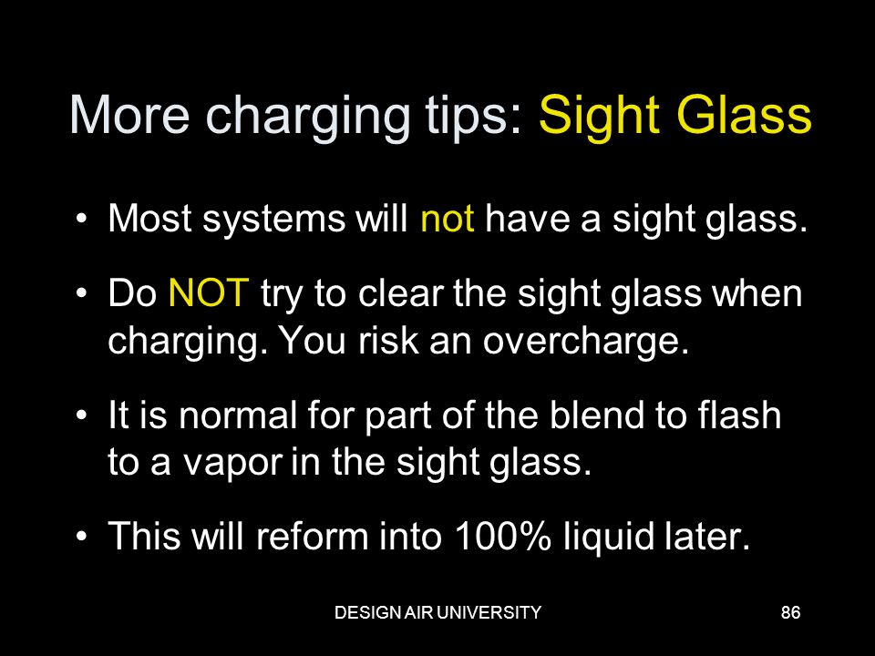 More charging tips: Sight Glass