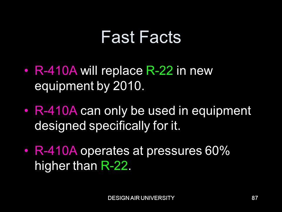 Fast Facts R-410A will replace R-22 in new equipment by 2010.