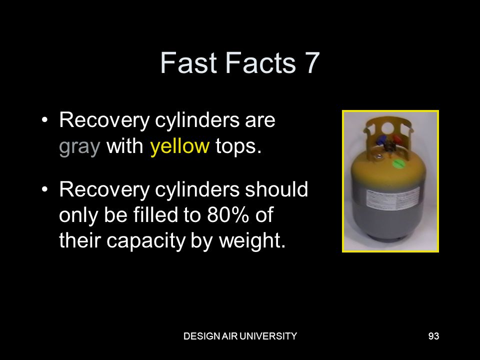 Fast Facts 7 Recovery cylinders are gray with yellow tops.