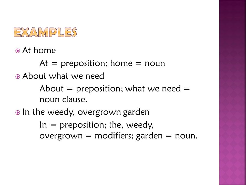 Examples At home At = preposition; home = noun About what we need