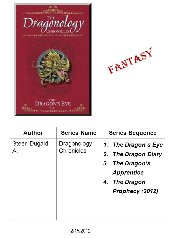 Fantasy Author Series Name Series Sequence Steer, Dugald A.